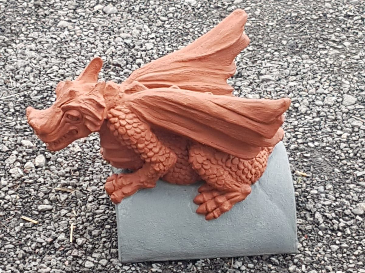 slate grey and terracotta dragon finial